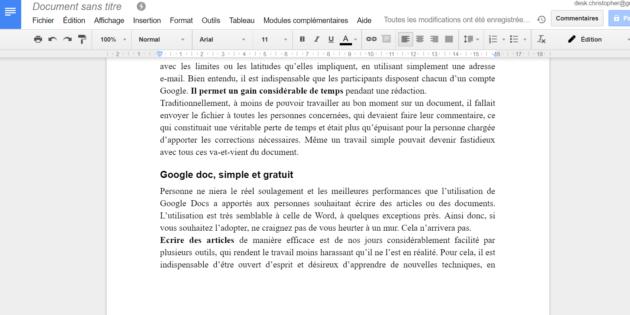 google documents - module complémentaire