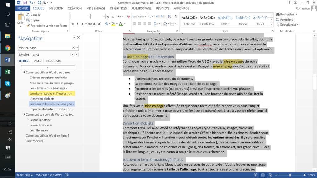 comment utiliser Word - mode révision
