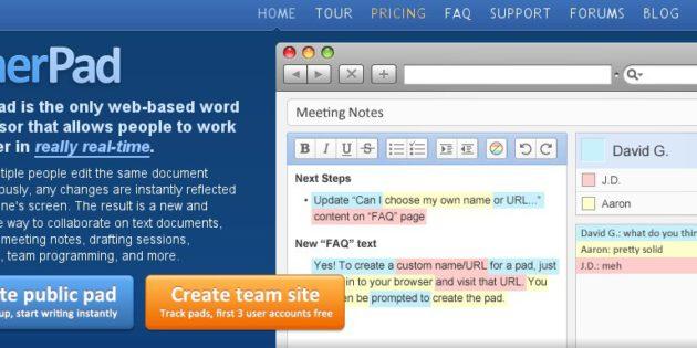 traitement de texte en ligne - etherpad - word online - googledoc